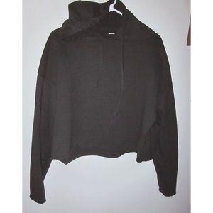 ZARA Black Drawstring Cropped Athletic Hoodie